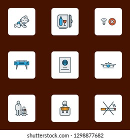Airport icons colored line set with minibar, passport, baby room and other citizenship elements. Isolated  illustration airport icons.