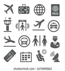 Airport icons set on white background.