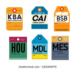 Airport luggage tags set. Vintage luggage paper labels.