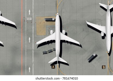 Airport runway with airplane 3D illustration (top view)