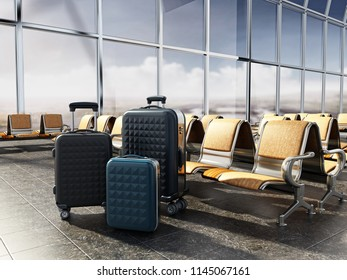 Airport seats in the waiting lounge of an airport. 3D illustration.