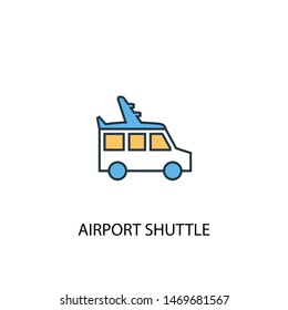 airport shuttle concept 2 colored line icon. Simple yellow and blue element illustration. airport shuttle concept outline symbol design