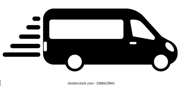 airport shuttle minivan, shuttle bus. flat design