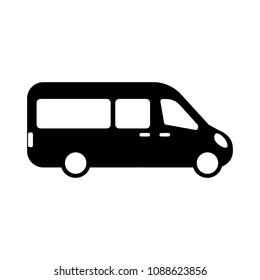 airport shuttle minivan, shuttle bus. flat design