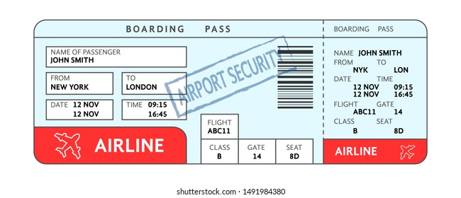 airport ticket with filled fields and security service mark. simple flat style trend modern graphic line design isolated on white background. concept of blank doc sign for air travel and boarding pass