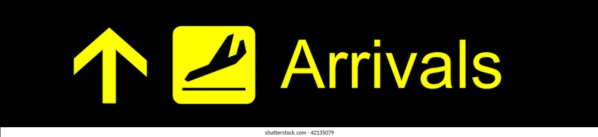 Airport yellow arrivals sign on a black background