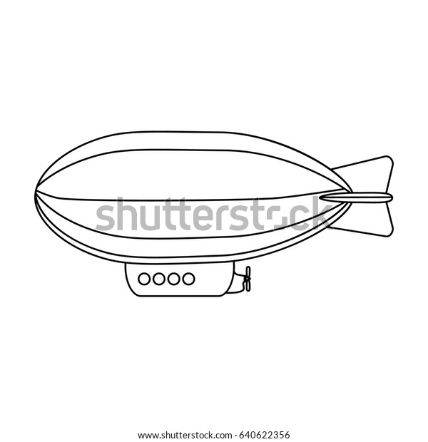 Airship Air Transport Traveltransport Single Icon Stock