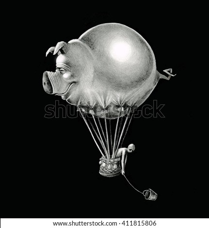 Airship flying pig on