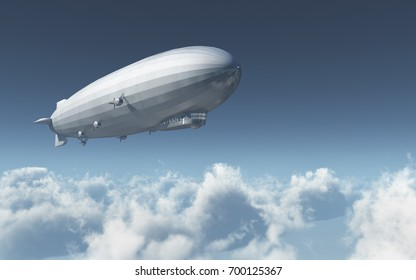 Airship over the clouds Computer generated 3D illustration