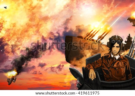 Airships Battle Style Steampunk Anime Stockillustration 419611975