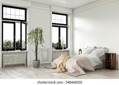 Airy bright white bedroom interior with large double windows and a bed with throw rugs on a painted hardwood floor with a potted plant, corner view. 3d Rendering