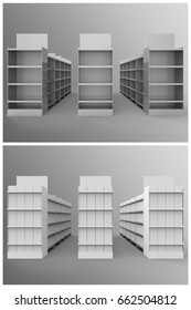 Aisle with Gondola Store Branding is a set of professional 3D renders on a studio background, created with a 3D model of a classic store aisles with gondolas, with filled , and empty shelves.
