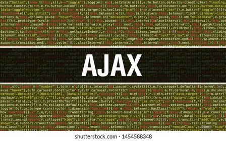 AJAX text written on Programming code abstract technology background of software developer and Computer script. AJAX concept of code on computer monitor. Coding AJAX programming website