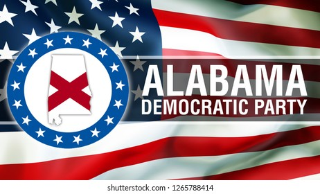 Alabama Democratic Party on a USA flag background, 3D rendering. United States of America flag waving in the wind. American State Flag Waving, US Alabama democrats concept. Alabama Democratic Party
