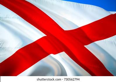 Alabama flag. State of Alabama. Alabama USA U.S. States. 3D Waving flag design. Alabama State flag wallpaper image background. US United States state flags.
