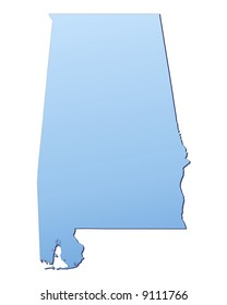 Alabama(USA) map filled with light blue gradient. High resolution. Mercator projection.