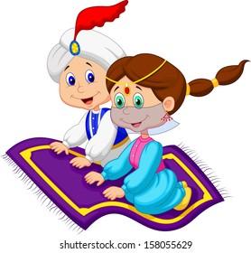 Aladdin on a flying carpet traveling