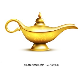 Aladdin yellow iron lamp isolated icon with shadow and ornaments on white background  illustration