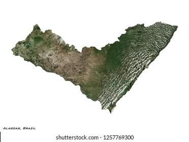 Alagoas, Brazil Map (3D illustration)