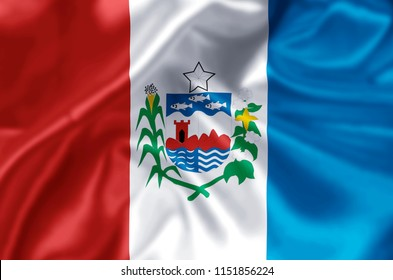 Alagoas waving and closeup flag illustration. Perfect for background or texture purposes.