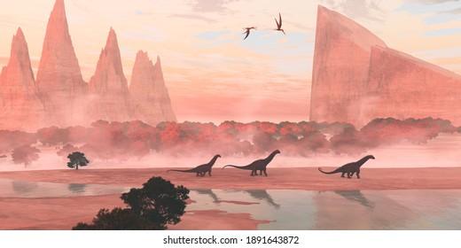 Alamosaurus Dinosaur Landscape 3d illustration -  Pterosaurs fly over Alamosaurus sauropod dinosaurs walking along the banks of a river during the Cretaceous Period.