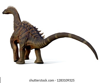 Alamosaurus Dinosaur Tail 3D illustration - Alamosaurus was a titanosaur sauropod herbivorous dinosaur that lived in North America during the Cretaceous Period.