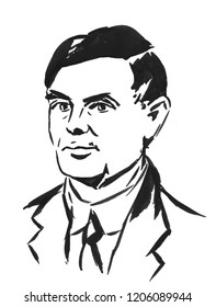 Alan Turing, the hand drawn portrait of the famous English mathematician and cryptoanalyst, the portrait was hand drawn at Prague,Czech Republic in January of 2018
