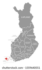 Aland Islands red highlighted in map of Finland