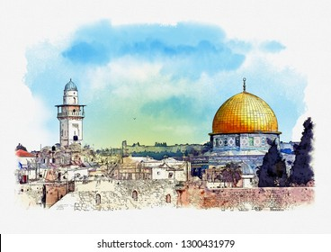 Al-Aqsa mosque and Dome of the Rock in Jerusalem, Israel. Watercolor sketch.