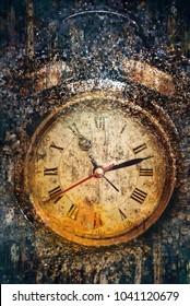 Alarm clock. Artwork in painting style