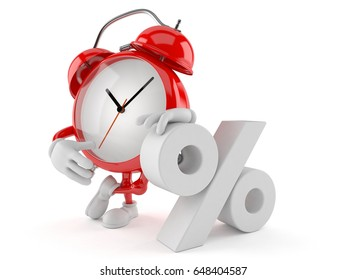 Alarm clock character with percent symbol isolated on white background. 3d illustration