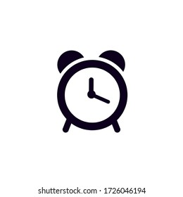 Alarm clock icon on white background. Notifications when the specified time is reached.