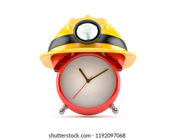 Alarm clock with miner hat isolated on white background. 3d illustration