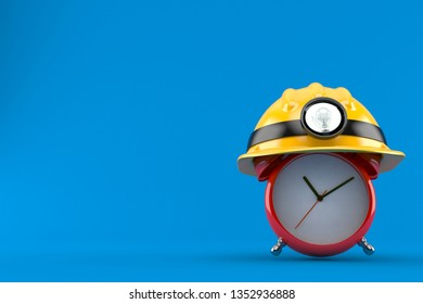 Alarm clock with miner hat isolated on blue background. 3d illustration