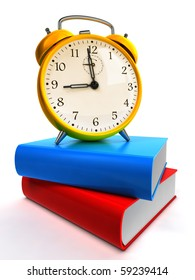 Alarm clock on blue and red books