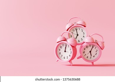 Alarm clock on pastel pink background. minimal concept. 3d rendering