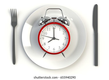 Alarm clock on plate, knife and fork on white table, 3D rendering