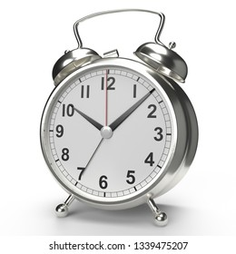 Alarm clock on white background. 3D rendering