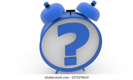 Alarm clock with question mark concept in blue color.3d illustration