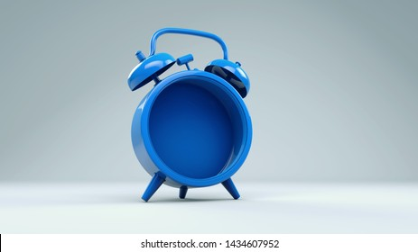 Alarm clock rendered in 3d empty inside . Conceptual image of alarm clock, timepiece rendered 3d