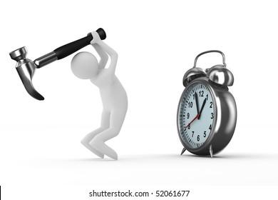 Alarm clock repair. Isolated 3D image on white