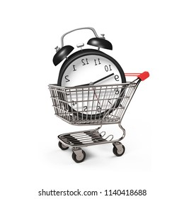Alarm clock in the shopping cart, side view, isolated on white, 3D illustration.