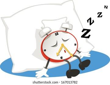Alarm clock sleeping on a pillow.