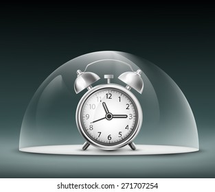alarm clock under a glass dome