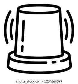 Alarm flasher icon. Outline alarm flasher icon for web design isolated on white background