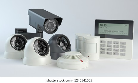 Alarm system - cameras and sensors, 3d Illustration
