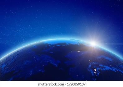 Alaska and East Russia city lights. Elements of this image furnished by NASA. 3d rendering