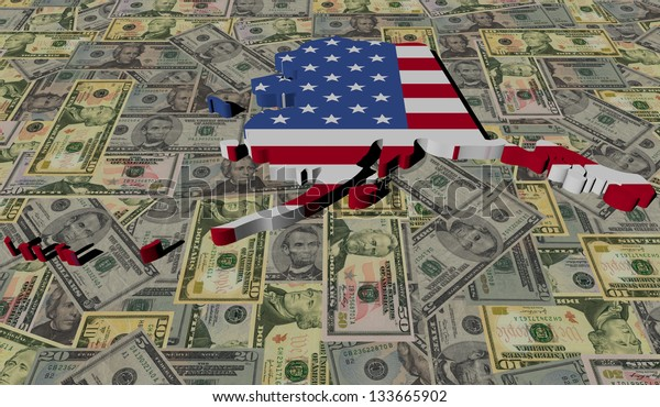 Alaska Map flag on American dollars illustration