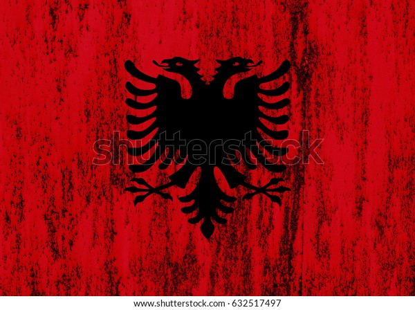 Albania flag grunge background. Background for design in country flag