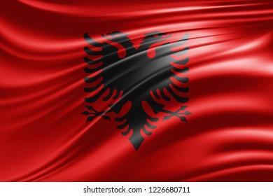 Albania flag of silk -3D illustration